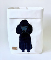 Poodle storage basket, white M-size. ENJOY YOUR LIFE BY DEMI