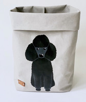 Poodle storage basket, grey M-size. ENJOY YOUR LIFE BY DEMI