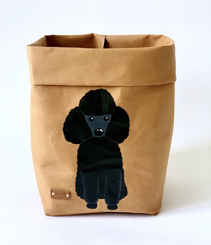 Poodle storage basket, brown M-size. ENJOY YOUR LIFE BY DEMI