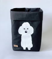 Poodle storage basket, black M-size. ENJOY YOUR LIFE BY DEMI