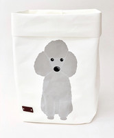 Poodle storage basket, white S-size. ENJOY YOUR LIFE BY DEMI