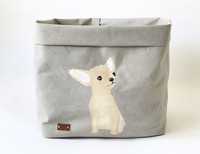 Chihuahua storage basket, grey L-size. ENJOY YOUR LIFE BY DEMI