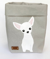 Chihuahua storage basket, grey M-size. ENJOY YOUR LIFE BY DEMI