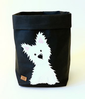 Westie storage basket, black S-size. ENJOY YOUR LIFE BY DEMI