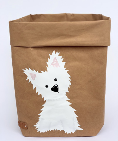 Westie storage basket, brown M-size. ENJOY YOUR LIFE BY DEMI