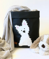 Westie storage basket, black M-size. ENJOY YOUR LIFE BY DEMI