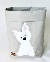 Westie storage basket, grey M-size. ENJOY YOUR LIFE BY DEMI