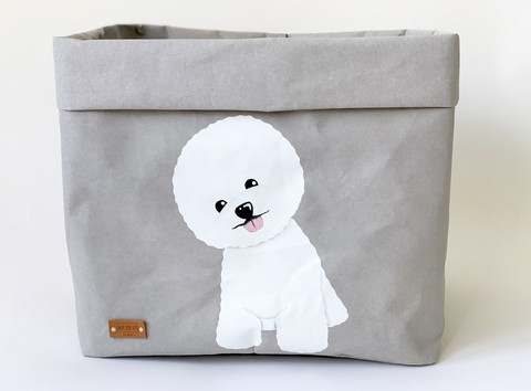Bichon frise storage basket, grey L-size, ENJOY YOUR LIFE BY DEMI