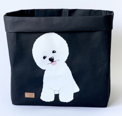 Bichon frise storage basket, musta L-size, ENJOY YOUR LIFE BY DEMI