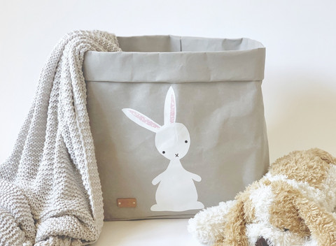 Bunny storage basket, grey L-size, ENJOY YOUR LIFE BY DEMI