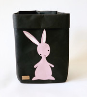 Bunny storage basket, black M-size, ENJOY YOUR LIFE BY DEMI