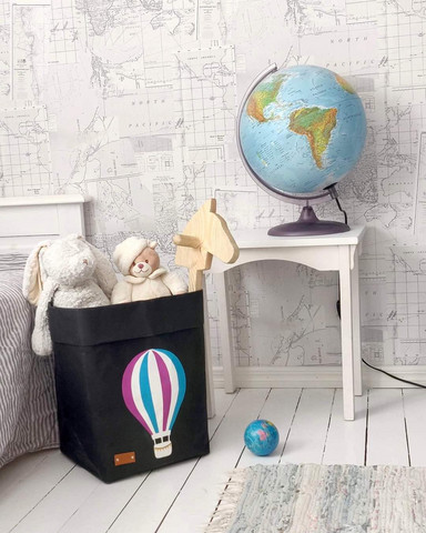 Hot-air balloon storage basket, black M-size. ENJOY YOUR LIFE BY DEMI