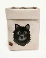 Finnish Lapphund storage basket, grey M-size, ENJOY YOUR LIFE BY DEMI