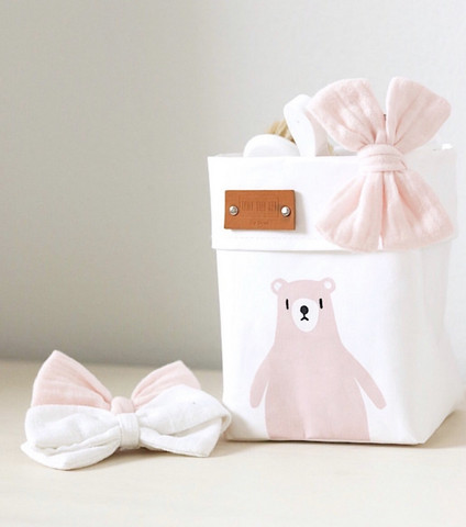 Teddy storage basket, white 10x10cm. ENJOY YOUR LIFE BY DEMI