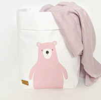 Pink teddy storage basket, white S-size, ENJOY YOUR LIFE BY DEMI