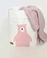 Pink teddy storage basket, white M-size. ENJOY YOUR LIFE BY DEMI