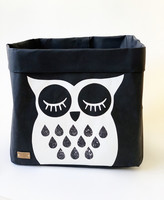 Owl storage basket black, white owl L-size, ENJOY YOUR LIFE BY DEMI