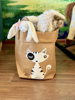 Cat storage basket, white brown M-size ENJOY YOUR LIFE BY DEMI
