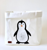 Penguin storage basket, white L-size ENJOY YOUR LIFE BY DEMI