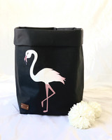 Flamingo storage basket, black M-size ENJOY YOUR LIFE BY DEMI