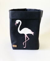 Flamingo storage basket, black S-size ENJOY YOUR LIFE BY DEMI