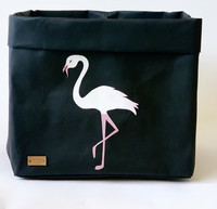 Flamingo storage basket, black L-size ENJOY YOUR LIFE BY DEMI