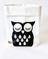 Owl storage basket white M-size ENJOY YOUR LIFE BY DEMI
