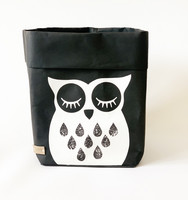 Owl storage basket, black M-size, ENJOY YOUR LIFE BY DEMI