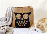 Owl storage basket brown L-size ENJOY YOUR LIFE BY DEMI