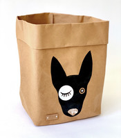 Bullterrier storage basket, brown M-size, ENJOY YOUR LIFE BY DEMI