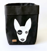 Bullterrier storage basket, black M-size, ENJOY YOUR LIFE BY DEMI