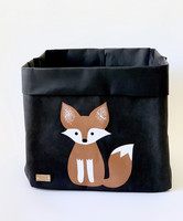 Fox storage basket, black L-size, ENJOY YOUR LIFE BY DEMI