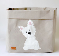 Westie storage basket, grey L-size, ENJOY YOUR LIFE BY DEMI