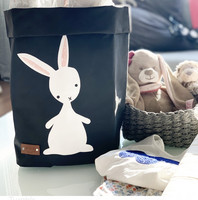 Bunny storage basket, black S-size, ENJOY YOUR LIFE BY DEMI
