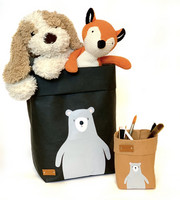 Teddy storage basket, black M-size. ENJOY YOUR LIFE BY DEMI
