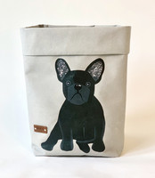 French Bulldog storage basket, grey and black dog M-size, ENJOY YOUR LIFE BY DEMI