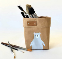 Teddy storage basket, brown 10x10cm. ENJOY YOUR LIFE BY DEMI