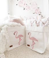 Flamingo storage basket, white L-size ENJOY YOUR LIFE BY DEMI