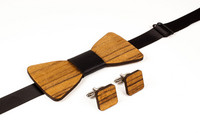 OLEN LOISTAVA Wooden bow + cufflinks, dark