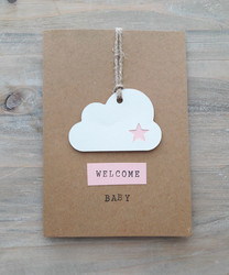 WELCOME BABY -kortti (vaaleanpunainen)