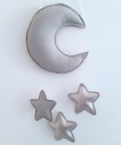 Kuu ja tähdet -mobile, harmaa ja hopea