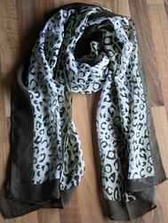 Huivi, tummanvihreä leopardikuvio
