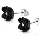 Kirurginteräskorvakorut 3D ruusu, musta