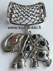 Huivikoru / paperinarukoru Onnen Elefantti, mustat kivet