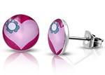Kirurginteräskorvakorut, vaaleanpunainen sydän 6 mm