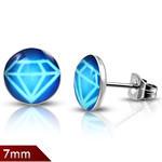 Kirurginteräskorvakorut, sininen timantti 7 mm