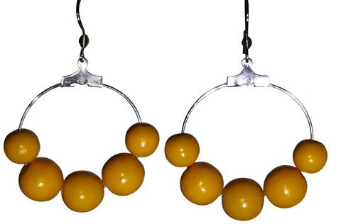 Puuhelmikorvakorut, keltainen