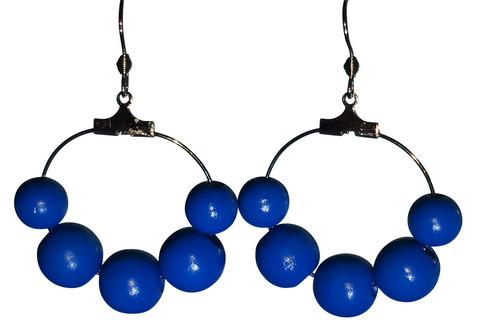 Puuhelmikorvakorut, sininen