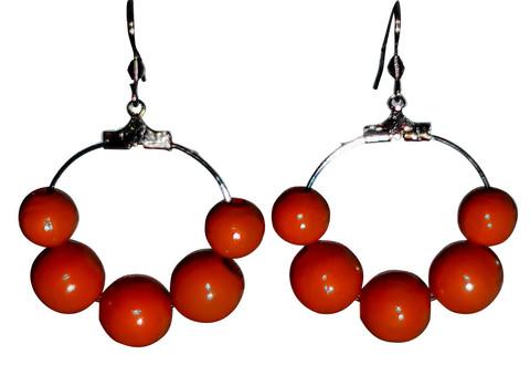 Puuhelmikorvakorut, punainen