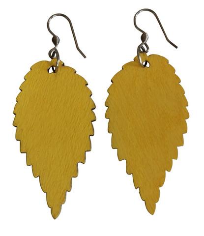 Puulehtikorvakorut keltainen